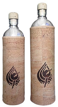 Flaska glass water bottle (comes in .5 and .75 liter size with cork protective sleeve)